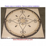 "Elegante, 24"" Polished Square Mosaic Medallion"